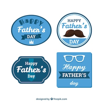 Paquet de quatre autocollants bleus pour la fête des pères