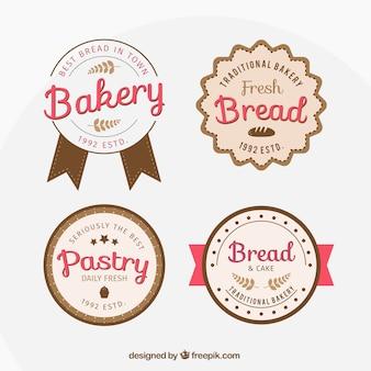 Paquet de quatre badges de boulangerie rétro mignon