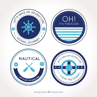 Paquet de quatre badges nautiques rondes