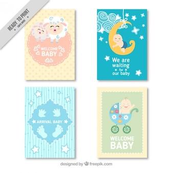Paquet de quatre belles cartes de douche de bébé
