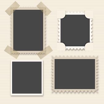 Paquet de quatre cadres décoratifs photo d'époque