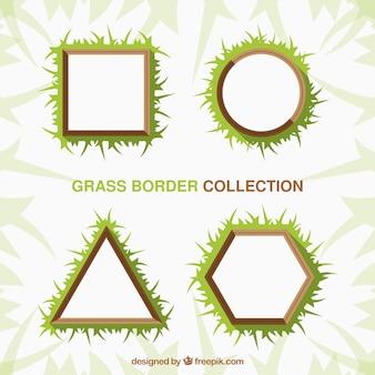 Paquet de quatre cadres d'herbe géométriques