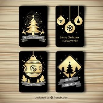 Paquet de quatre cartes de noël élégantes