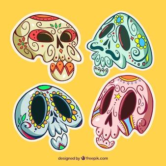 Paquet de quatre crânes mexicains tirés à la main