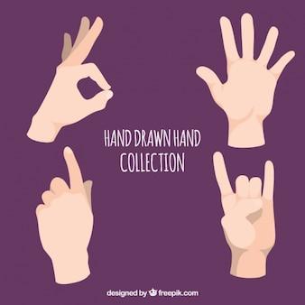 Paquet de quatre mains avec la langue des signes
