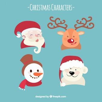 Paquet de quatre personnages souriants noël