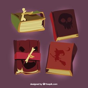 Paquet réaliste de livres magiques de halloween