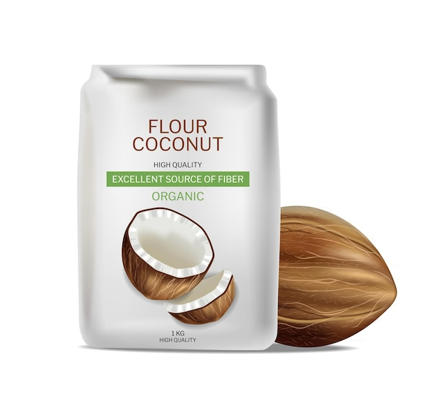 Paquet réaliste de vecteur de farine de noix de coco. le placement de produit simule des conceptions d'étiquettes détaillées