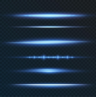 Paquet avec reflets horizontaux bleus faisceaux néons laser faisceaux bleu clair horizontaux