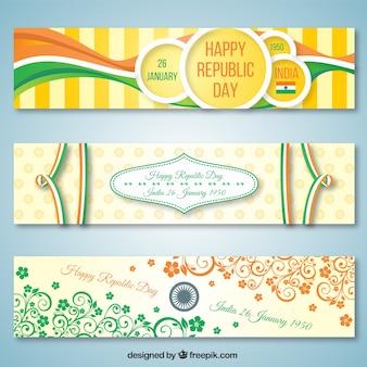 Paquet de la république indienne bannières jour