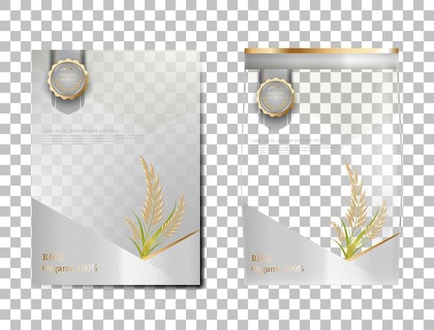 Paquet de riz produits alimentaires de thaïlande, bannière en or blanc et modèle d'affiche riz de conception vectorielle.