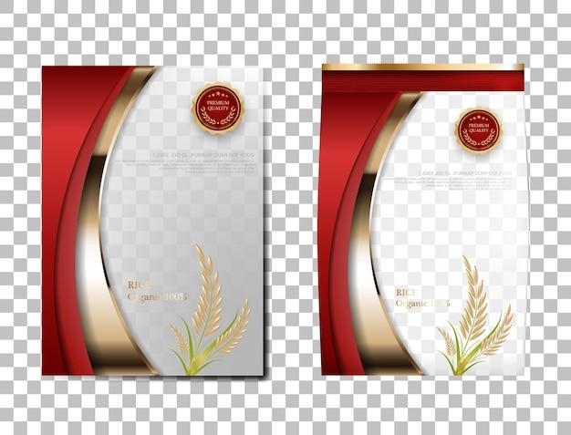 Paquet de riz produits alimentaires de thaïlande, bannière en or rouge et riz de conception de vecteur de modèle d'affiche.