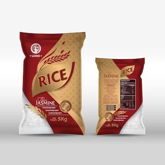 Paquet de riz thaïlande produits alimentaires