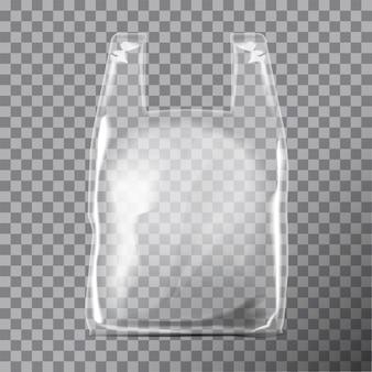 Paquet de sac en plastique de t-shirt transparent jetable.