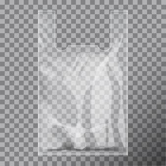 Paquet de sac transparent en plastique de t-shirt jetable.