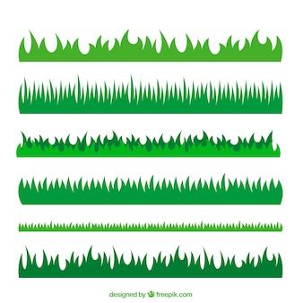 Paquet de six bordures d'herbe verte avec une variété de dessins