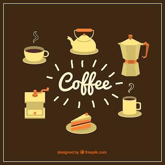 Paquet de six éléments de café dans le style vintage
