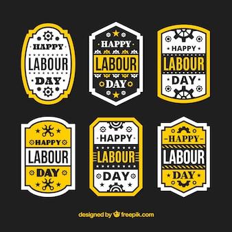 Paquet de six étiquettes de jour du travail avec des éléments jaunes