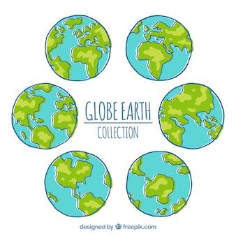 Paquet de six globes terrestres dessinés à la main
