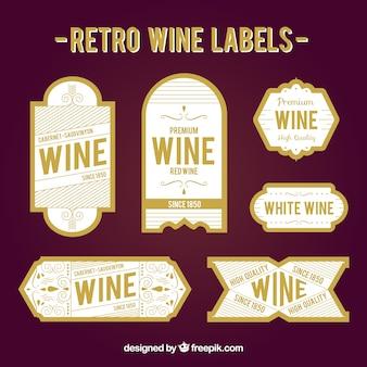 Paquet de stikers de vin rétro