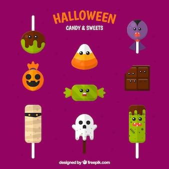 Paquet de sucettes d'halloween au design plat