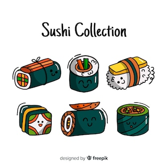 Paquet de sushi kawaii dessiné à la main