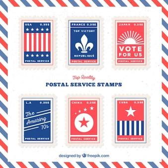 Paquet de timbres bleu et rouge plat service postal