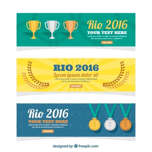 Paquet de trois bannières brazil avec des trophées et médailles