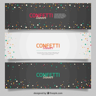 Paquet de trois bannières confetti avec les milieux géométriques