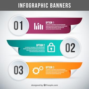 Paquet de trois bannières réalistes pour infographies
