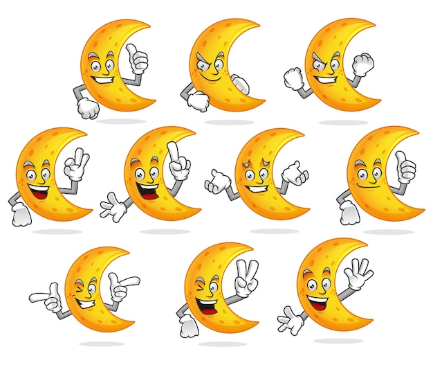 Paquet de vecteur de mascotte de lune, jeu de caractères de lune