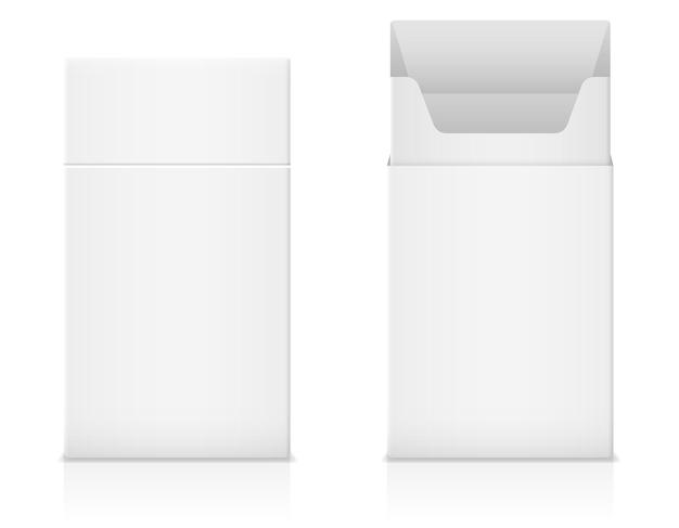 Paquet vide vide de modèle de cigarettes sur le blanc