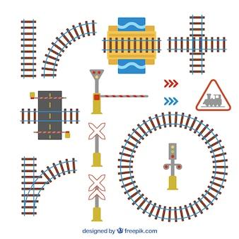 Paquet de voies ferrées et panneaux