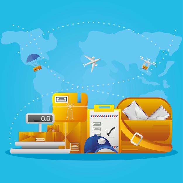 Paquets d'échelle de poids du service postal sac de courrier boîtes en carton logistique et transport sur fond de carte bleue