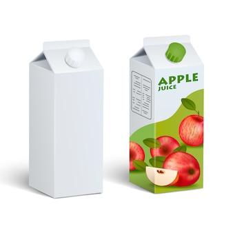 Paquets de jus de carton isolés