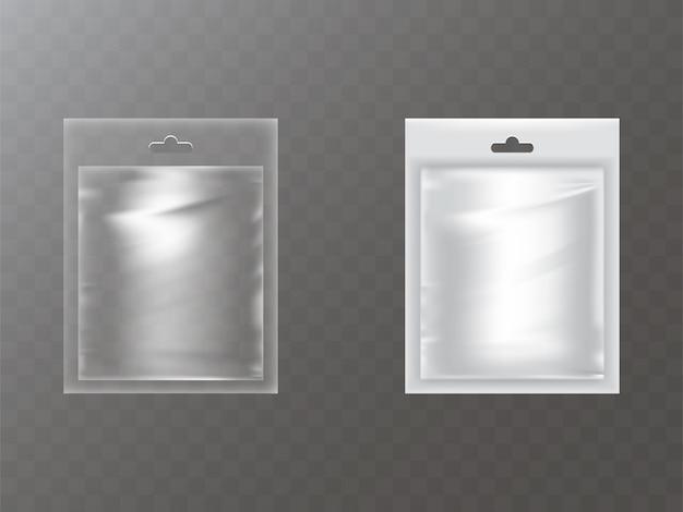 Paquets en plastique avec trou de main réaliste