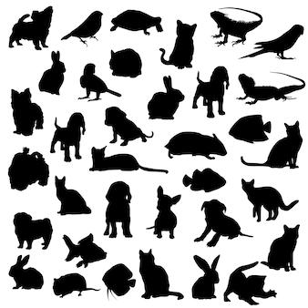 Par animal maison clipart vecteur silhouette design
