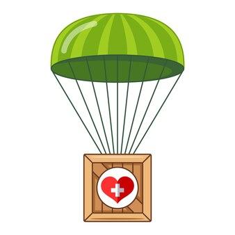 Parachute avec une boîte d'aide humanitaire à la population. boîte volant vers le bas. illustration plate