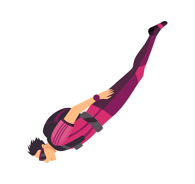 Parachutiste masculin volant avec des équipements de sport. parachutisme sport extrême. caractère de saut en parapente sur blanc. passe-temps actif sportif saute.