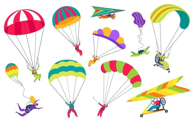 Parachutiste avec parachutiste parachutiste professionnel volant dans le ciel ensemble de vecteurs de sports extrêmes
