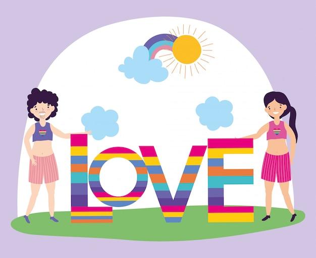 Parade de fierté communauté lgbt, homme et femme avec amour lettrage arc-en-ciel