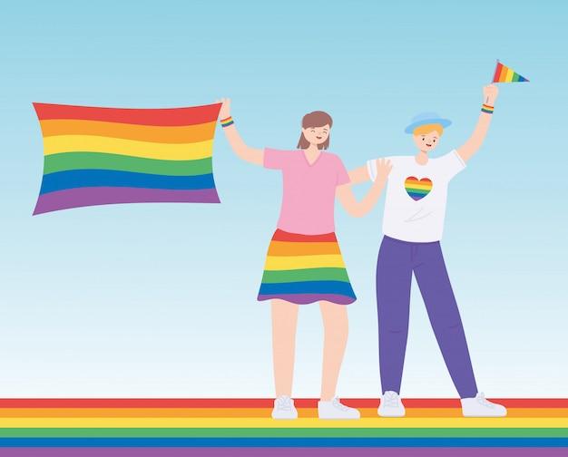 Parade gay de célébration de couple heureux
