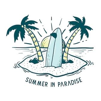 Paradis D'été Avec Des Planches De Surf Vecteur Premium