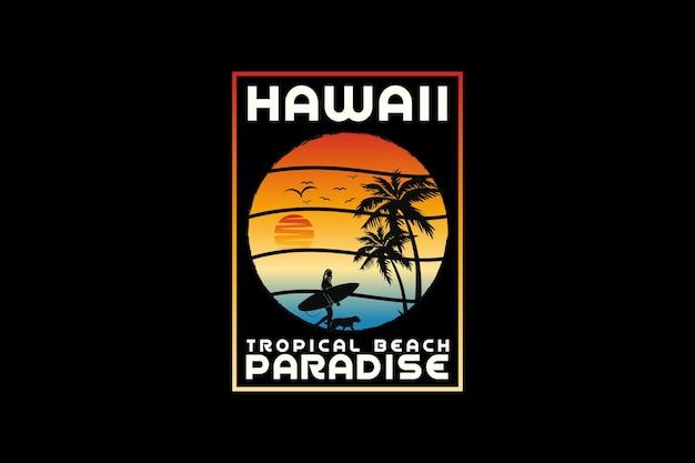 Paradis d'hawaï, style rétro de silhouette de conception
