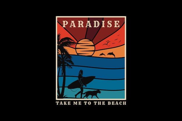 .le paradis m'emmène à la plage, design silhouette style rétro