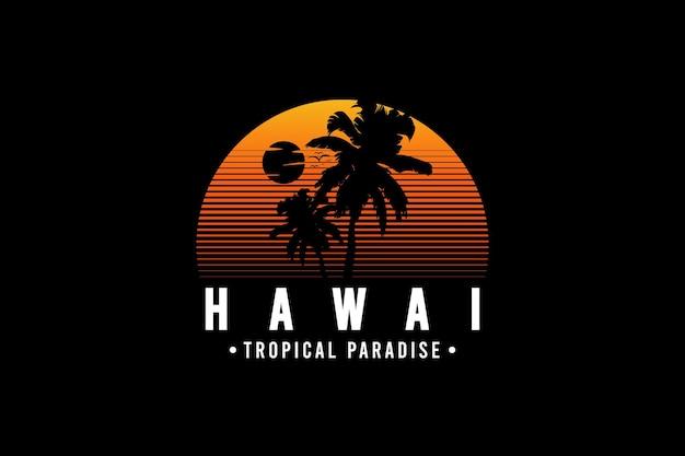 Paradis tropical d'hawaï, illustration de dessin à la main de style vintage rétro
