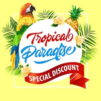 Paradis tropical, lettrage spécial avec perroquet. offre d'été