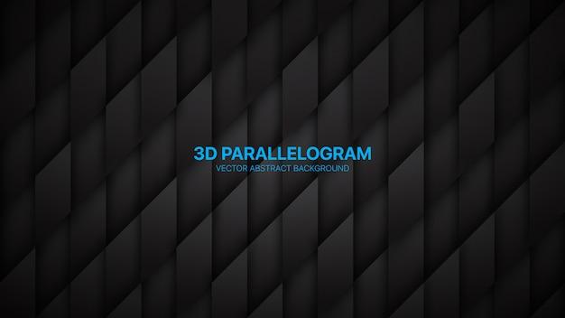 Parallélogrammes 3d conceptuel abstrait noir minimaliste
