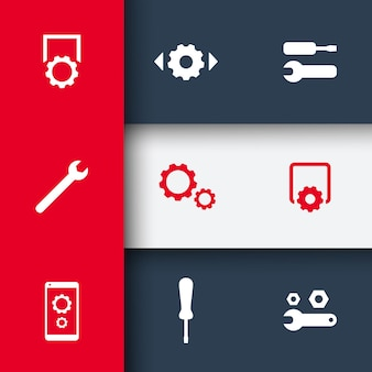 Paramètres, configuration, icônes de préférences sur fond géométrique