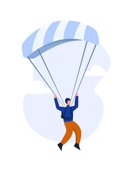 Parapente volant sur un parachute glissant. le concept de parapente